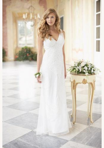 5aa382645ddb Smotanové dlhé svadobné šaty s výstrihom na hrubé ramienka 141NM