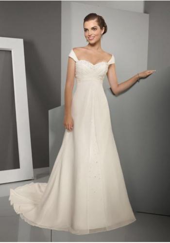 cd2a1a371863 Smotanové dlhé svadobné šaty s kamienkami na ramienka 142