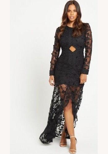 849badfb8a90 Čierne dlhé čipkované šaty s dlhým rukávom 444V