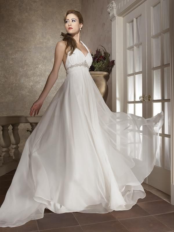 aa8b8d0f4753 Biele dlhé svadobné šaty s výstrihom so zapínaním okolo krku 149 ...