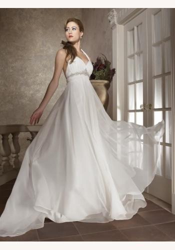 Biele dlhé svadobné šaty s výstrihom so zapínaním okolo krku 149 7ca92912dcd