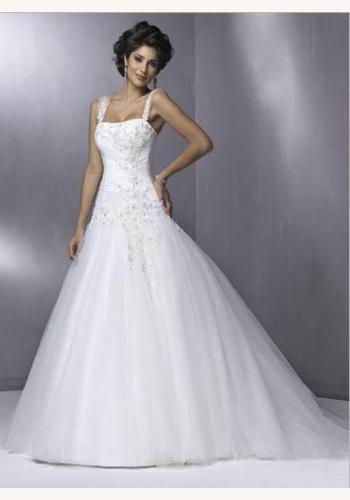 Biele dlhé svadobné šaty na ramienka 150 76a3c44d72c