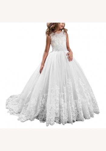Biele dlhé šaty s čipkou s kamienkami bez rukávov 047ANb 848c07d59f9