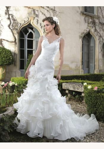Biele dlhé svadobné šaty s volánovou sukňou s čipkou na hrubé ramienka 152 bfba017d8af