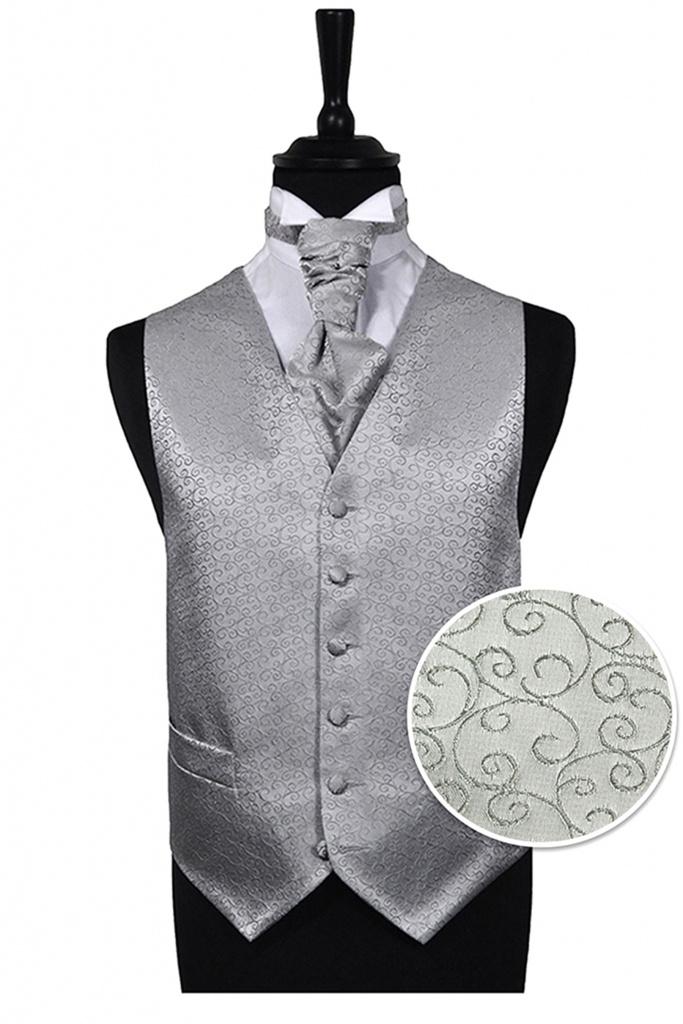 c6b68fce6aa8 Strieborná scroll svadobná vesta s francúzskou kravatou 071FT ...