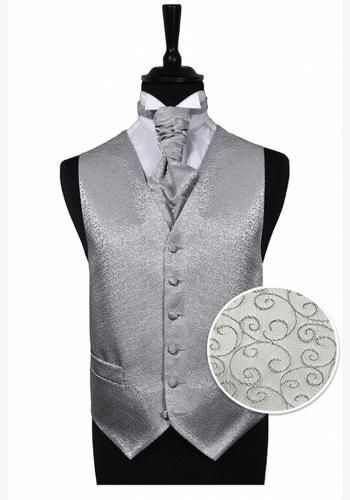 f8546cec48a5 Strieborná scroll svadobná vesta s francúzskou kravatou 071FT
