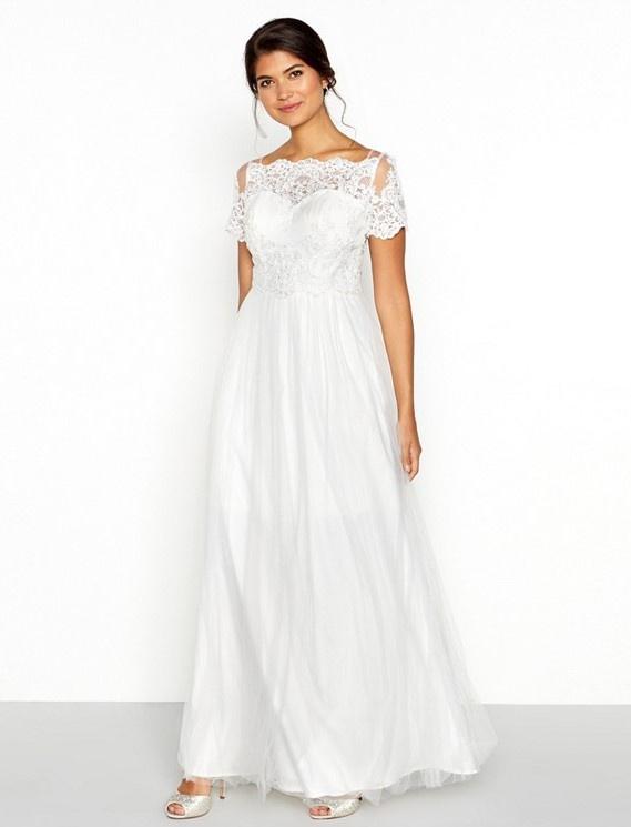 Biele dlhé svadobné šaty s čipkou s krátkym rukávom 233C 1e6b30ec3a3