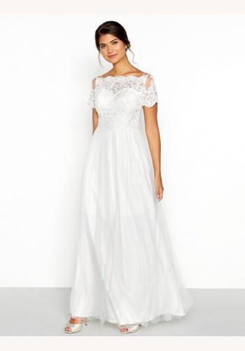 518ad64ff Biele dlhé svadobné šaty s čipkou s krátkym rukávom 233C