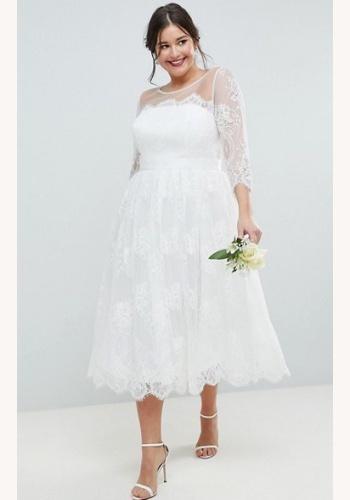 9815f8cfb2dc Plus biele midi čipkované šaty s 3 4 rukávom 201A