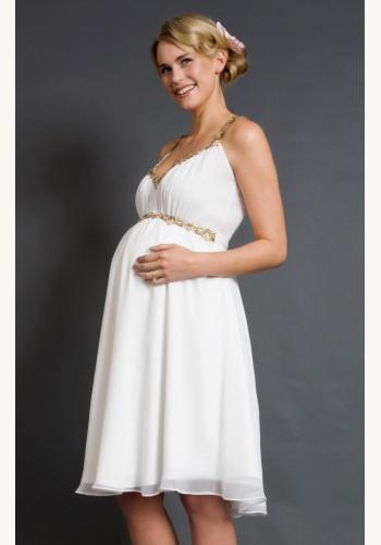 Tiffany Rose smotanové midi tehotenské šaty s výstrihom bez rukávov 300TR a93ef1482f9