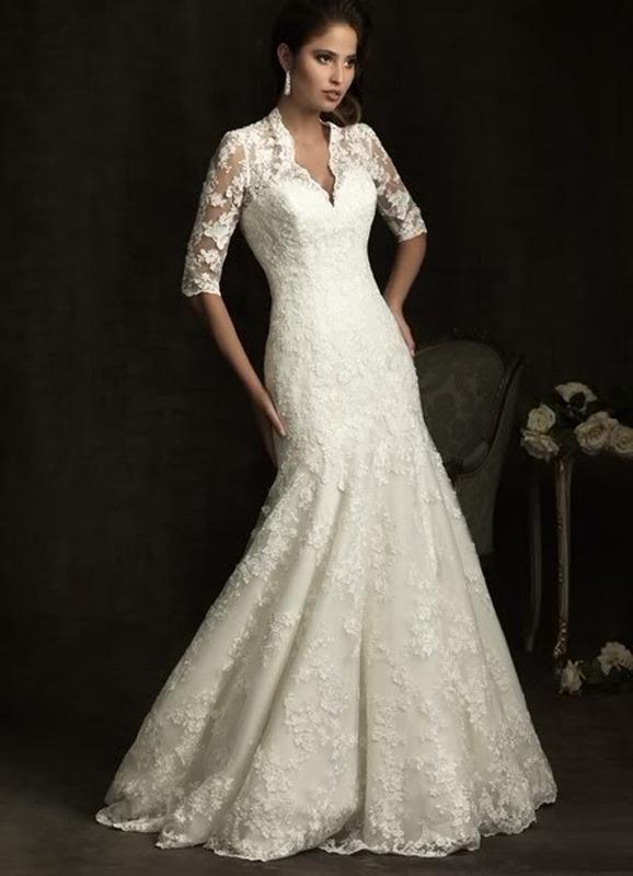 Biele dlhé čipkované svadobné šaty s 3 4 rukávom morská panna 155 2252325d280