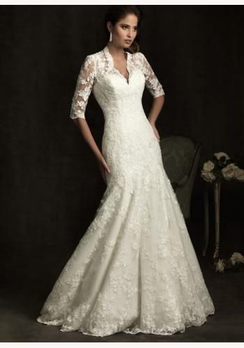 8aedc367380e Biele dlhé čipkované svadobné šaty s 3 4 rukávom morská panna 155