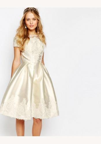 f009d0408826 Šampanské mini šaty s výšivkou s krátkym rukávom 296C