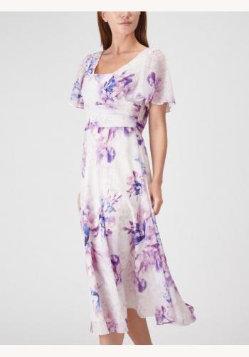 2bc226624269 Smotanovo-fialové midi šaty s kvetovanou potlačou s krátkym rukávom 298JV