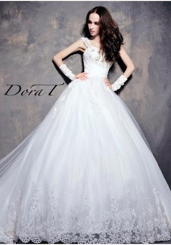 d83ef6275 Dora T biele dlhé svadobné šaty s čipkou 236DT