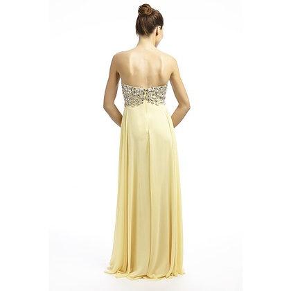 409bd9f9e069 Žlté dlhé korzetové šaty s kamienkami 449DT - Salón Emily