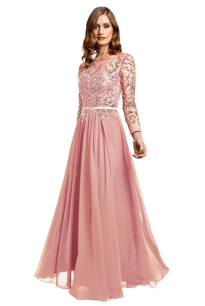 a1c8cfde0e3b Ružové dlhé šaty s kamienkami s dlhým rukávom 450DTa - Salón Emily