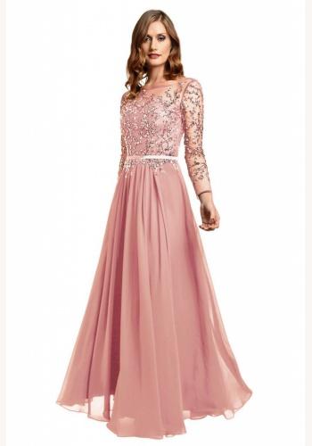 589f9efbf15a Ružové dlhé šaty s kamienkami s dlhým rukávom 450DTa