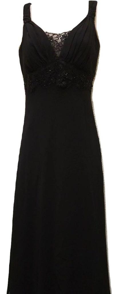 f2005712b042 Čierne midi šaty s čipkou na ramienka 004NM - Salón Emily