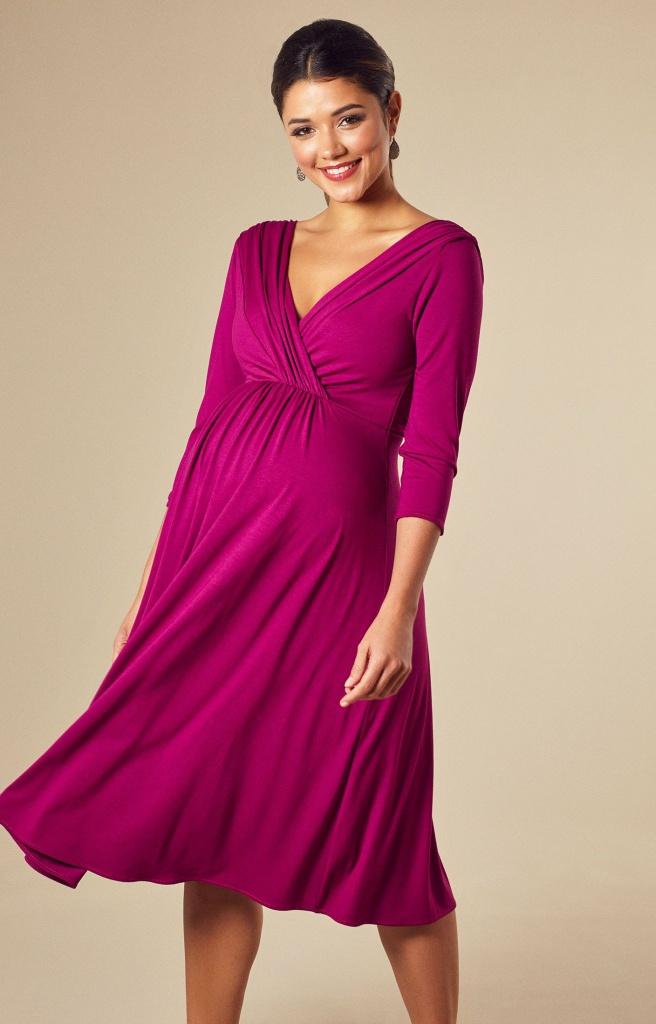 d16713452478 Tiffany Rose cyklamenovo-ružové midi tehotenské šaty s výstrihom s 3 4  rukávom 301TRa