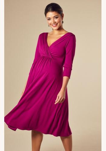 c63806dc7cc4 Tiffany Rose cyklamenovo-ružové midi tehotenské šaty s výstrihom s 3 4  rukávom 301TRa