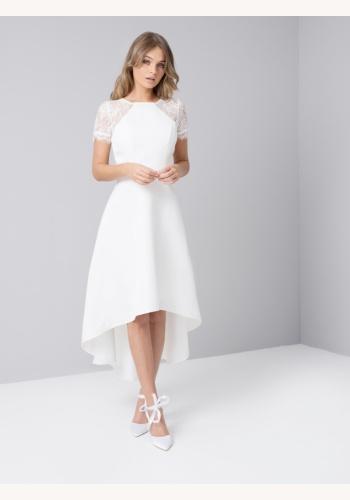 4e87f20eb56d Smotanové asymetrické šaty s čipkou s krátkym rukávom 451C