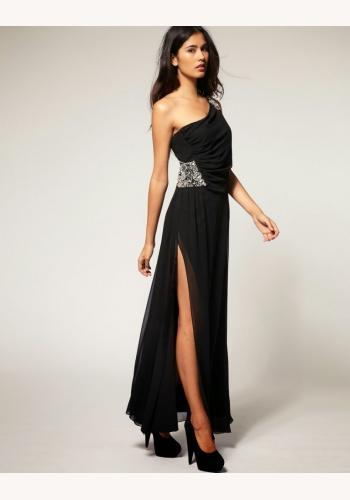 f841d9af5f67 Čierne dlhé šaty so štrasom na jedno rameno 028LPa