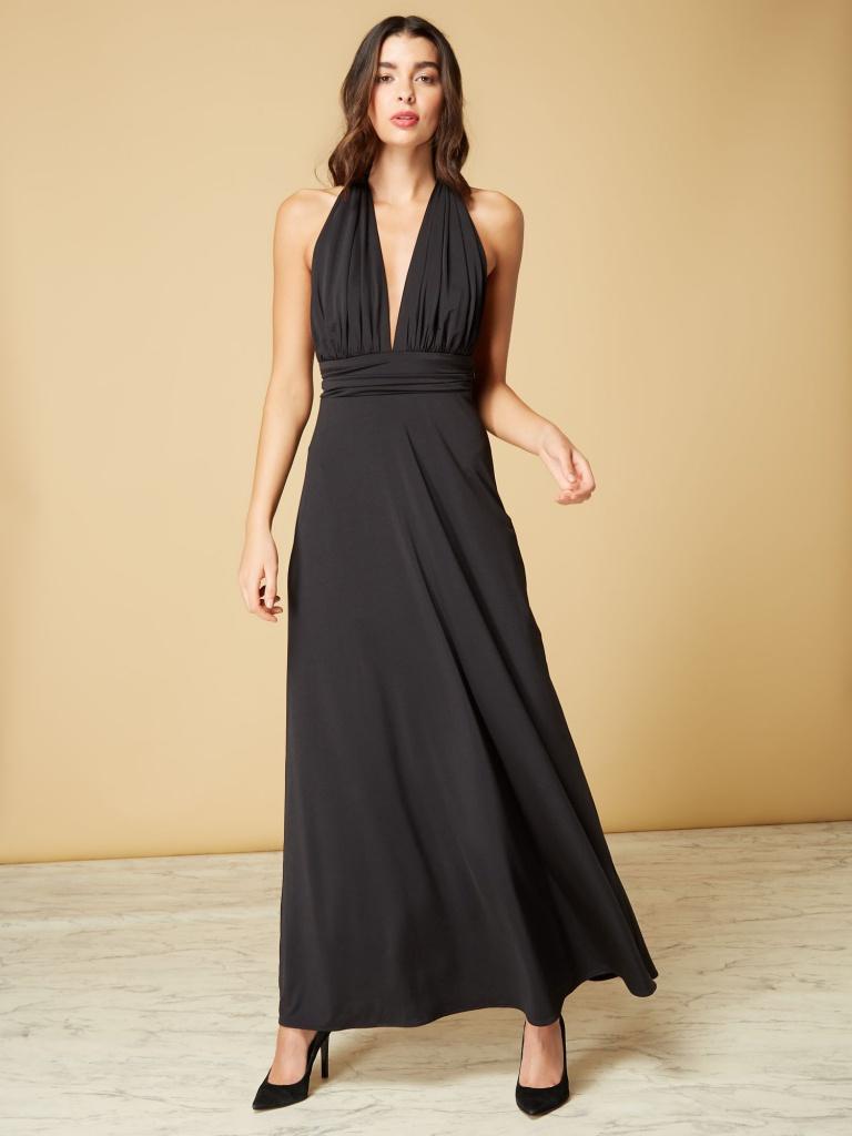 3869a55fca4d Čierne dlhé šaty s výstrihom okolo krku 452I - Salón Emily