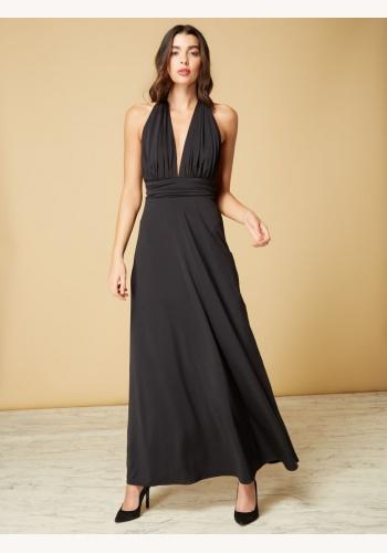 f51ecdeb9466 Čierne dlhé šaty s výstrihom okolo krku 452I
