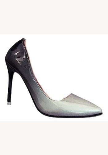8db9d64df71e3 Šedo-čierne spoločenské lakované topánky na vysokom opätku 074X