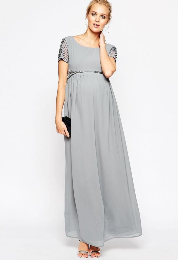 52262a683 Šedé dlhé tehotenské šaty s kamienkami s krákym rukávom 453M - Salón ...