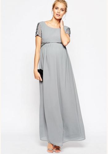 Šedé dlhé tehotenské šaty s kamienkami s krákym rukávom 453M 93e7f06e001