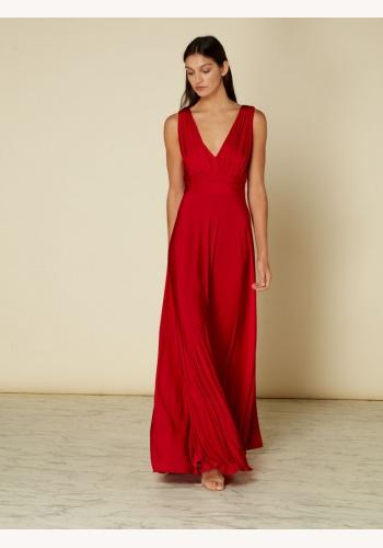 0343f3be9943 Červené dlhé šaty s výstrihom bez rukávov 443Ib