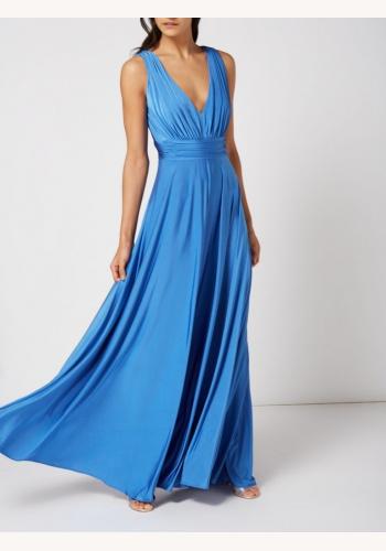 Modré dlhé šaty s výstrihom bez rukávov 443Ie 42e904ce9e1