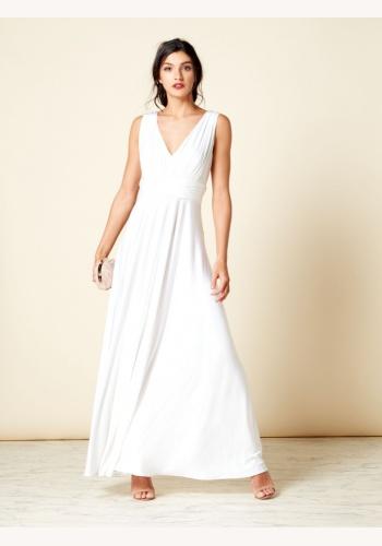 Smotanové dlhé šaty s výstrihom bez rukávov 443If 784d979d315