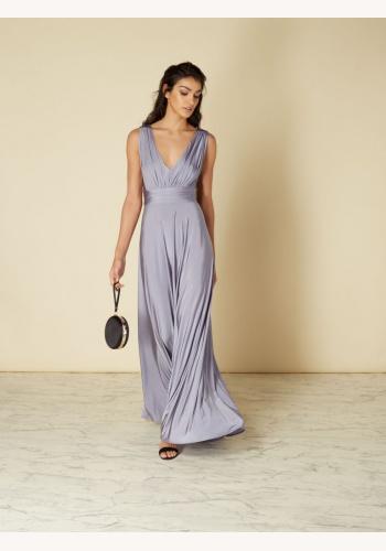 9eee6c3b3a05 Strieborné dlhé šaty s výstrihom bez rukávov 443Ig