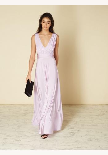 5c6e259437ec Levandulové dlhé šaty s výstrihom bez rukávov 443Ih
