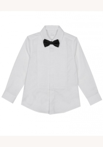 9148787a3e5f Biela chlapčenská košeľa s prekrytými gombíkmi s motýlikom 024DO