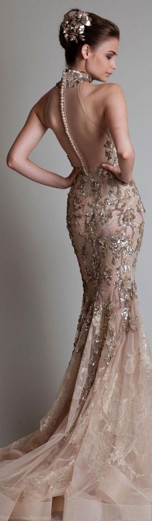 dd69e29e1f6c Béžovo-zlaté dlhé šaty s čipkou morská panna 351KR - Salón Emily