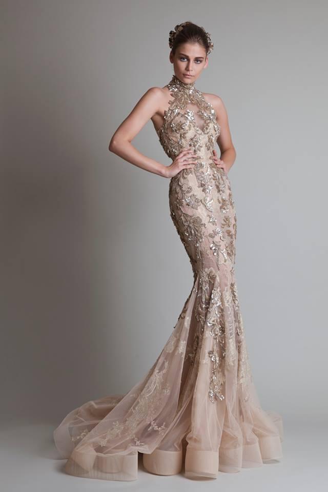 8ed49e52fd2 Béžovo-zlaté dlhé šaty so čipkou morská panna 351KR