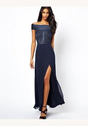 b8843ff93f2a Modré dlhé šaty s rozparkom na ramienka 353LP