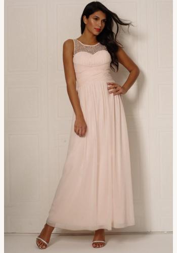 13c401b106f9 Telové dlhé šaty s perličkami bez rukávov 361L