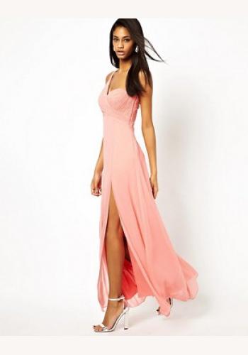 e99632e23d91 Ružové dlhé šaty s kamienkami na jedno rameno 376LP