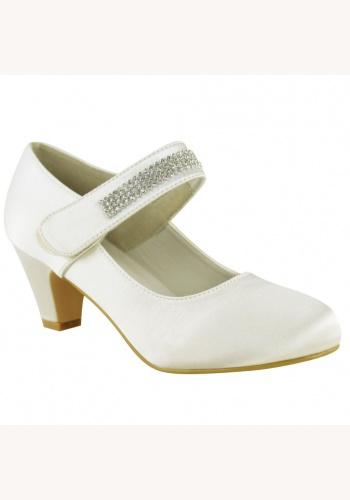 ae6ee48a61 Bielo-smotanové saténové topánky na nízkom opätku 023E