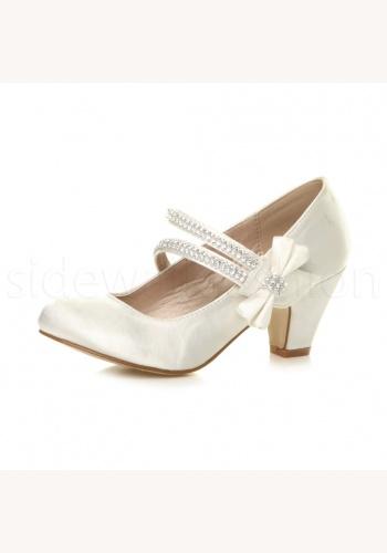 100b5fc01e Smotanové saténové topánky s mašľou na nízkom opätku 024E