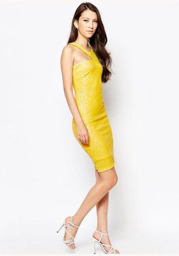 Žlté midi flitrované úzke šaty 305AR 78ae9353f94