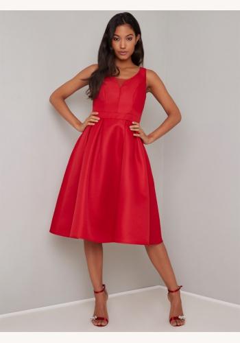 Červené midi šaty s výstrihom na hrubé ramienka 189Ca 328c85741d9