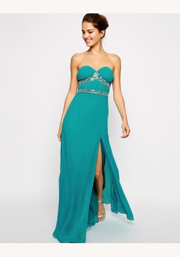 8252b101e827 Zelené dlhé korzetové šaty s kamienkami 398LP