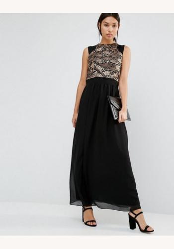 Čierne dlhé šaty s metalickou čipkou bez rukávov 445L d4dd9e7db0
