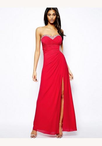 Červené dlhé korzetové šaty s kamienkami 446LP e52cf330635